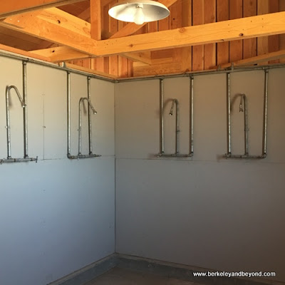 showers in women's latrine at Manzanar National Historic Site in Independence, California