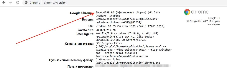 Как узнать версию Chrome