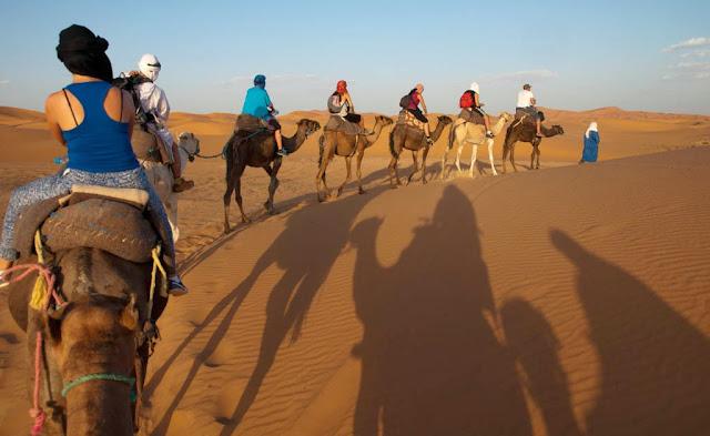 Ruta sobre camello por el desierto del Sahara