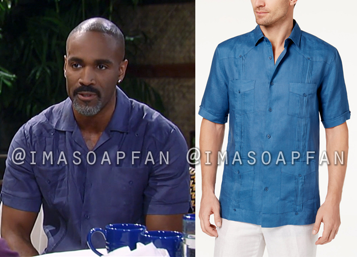 Curtis Ashford, Donnell Turner, Tasso Elba, Blue Linen Shirt, General Hospital, GH