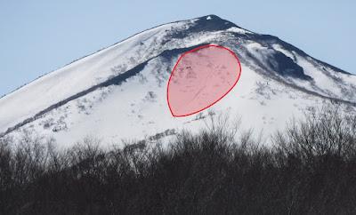 表層雪崩発生区域。