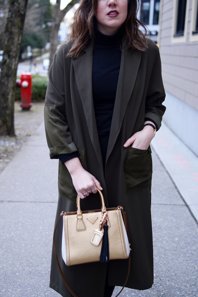 Topshop duster coat casetify charging tassel review vancouver fashion blogger prada saffiano lux tote gold
