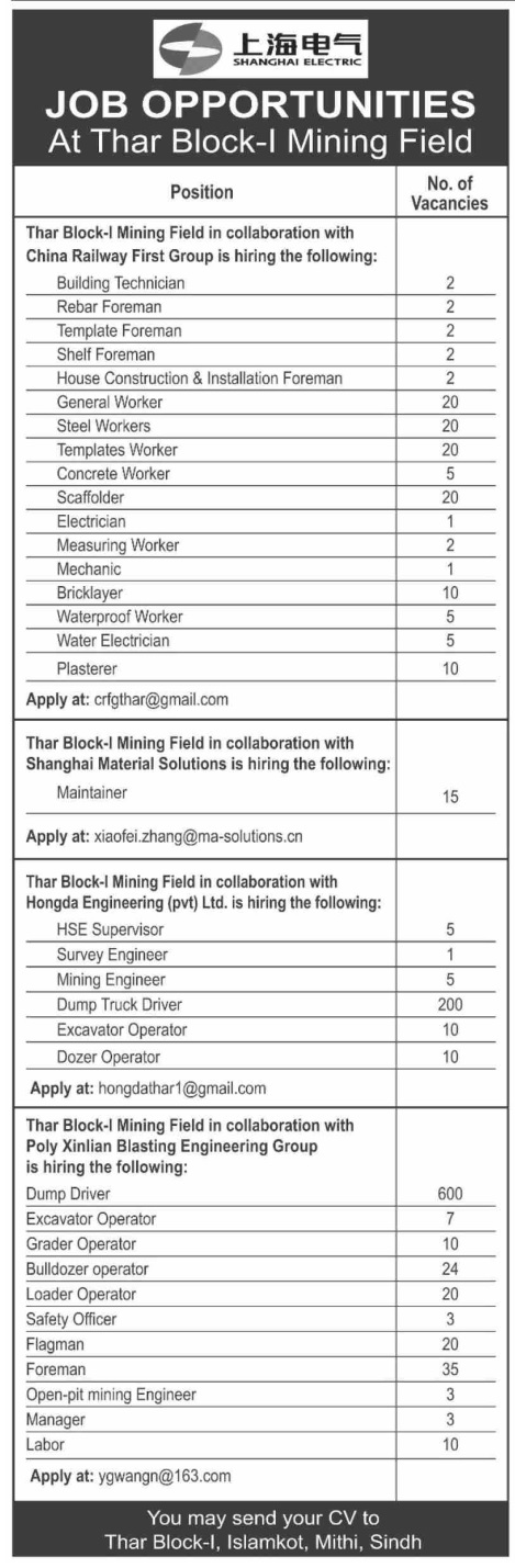 1110 Jobs in Shanghai Electric Power Company Limited Sindh Jobs | Multiple Vacancies