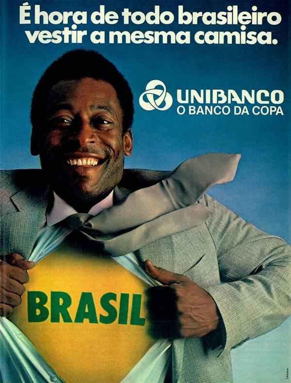 Propaganda do Unibanco com o Pelé em homenagem à Copa do Mundo de 1982
