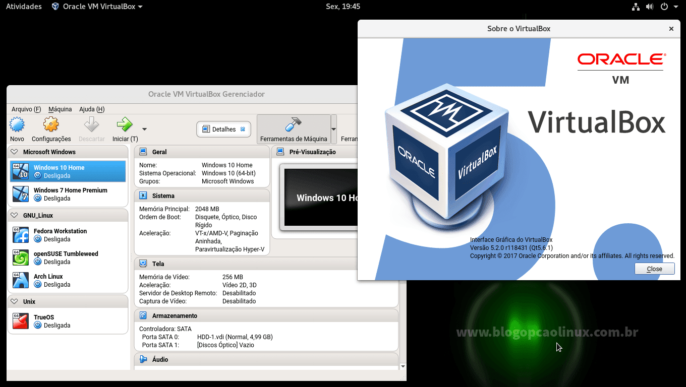 Oracle VM VirtualBox 5.1.28 (OSE) executando no openSUSE Leap 42.3 (GNOME)