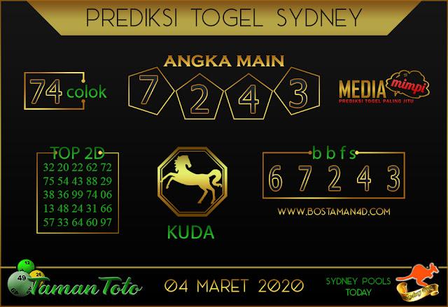 Prediksi Togel SYDNEY TAMAN TOTO 03 MARET2020