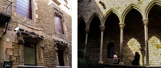 Fachada e galeria superior do Palau Berenguer d'Aguilar, sede do Museu Picasso