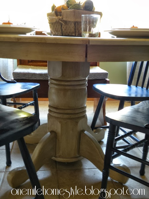 Refinished table pedestal detail
