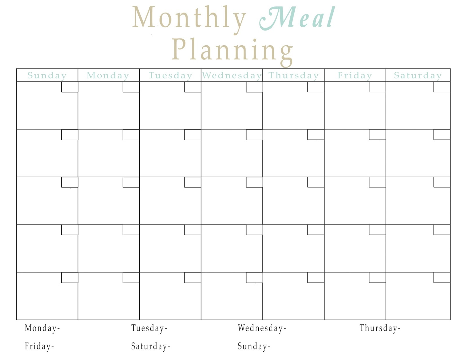 Easy meal plan structure with free printables fun cheap for Monthly dinner calendar template