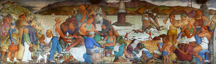 Art contrarian lucien labaudt depression era muralist for Beach mural painting
