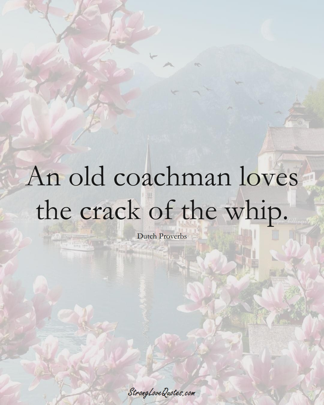 An old coachman loves the crack of the whip. (Dutch Sayings);  #EuropeanSayings