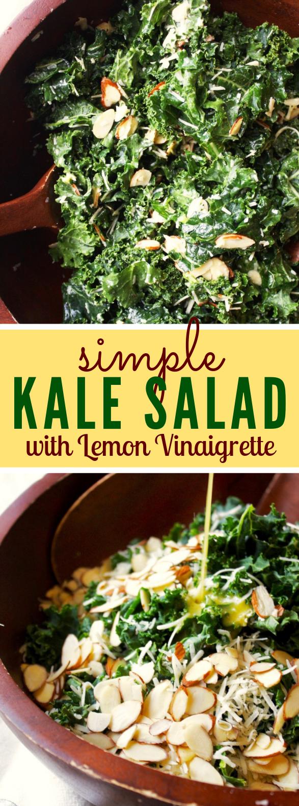SIMPLE KALE SALAD WITH LEMON VINAIGRETTE #vegetarian #eating