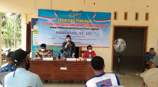 Anggota DPRD Lampung Mardiana Sosialisasi Ideologi Pancasila dan Wawasan Kebangsaan