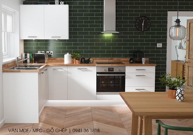 thiết kế bếp chủ đề xanh lá cây