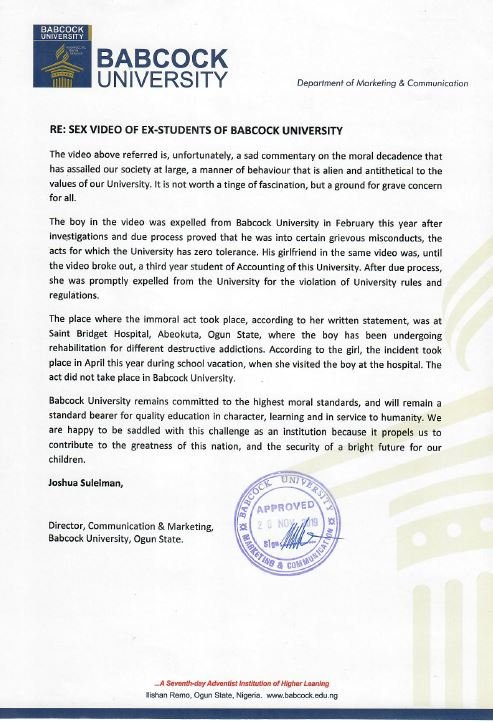 "NEWS: Babcock University Releases Official Statement As Regard Trending ""Babcork Mia khalifa"" Sex Tape. Read Here"