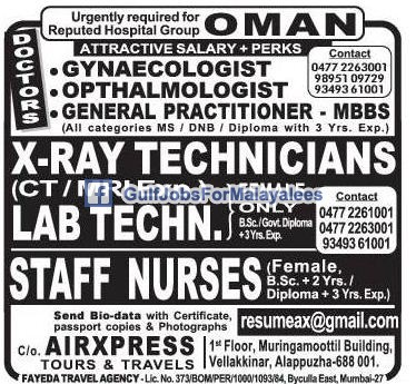Urgently Required For A Reputed Hospital Group In Oman ...