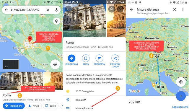 come misurare le distanze su Google Maps da mobile