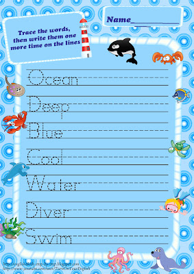 sea animals trace words handwriting worksheet