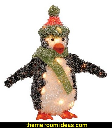 Penguin with 35 Clear Lights   penguin bedrooms - polar bear bedrooms - arctic theme bedrooms - winter wonderland theme bedrooms - snow theme decorating ideas - penguin duvet covers - penguin bedding - winter wonderland party ideas - Christmas