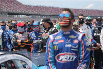 #NASCAR drivers push the #43 Victory Junction Chevrolet to the front of the grid