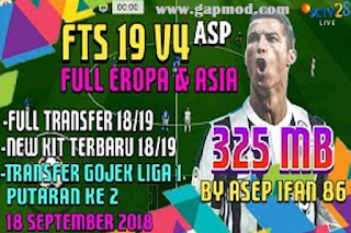 FTS 19 v4 Gojek League 1 & Full Transfer Europe 2018/2019