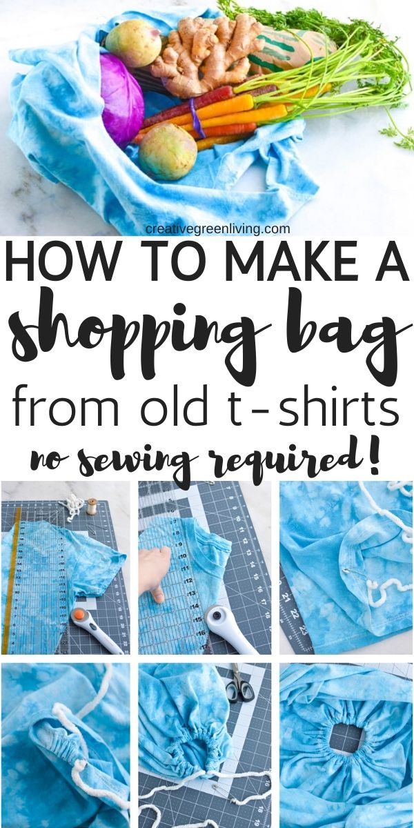How to make a DIY shopping bag that you can take grocery shopping or to the mall. This easy reusable shopping bag pattern uses t-shirts as the base to make a creative no-sew project that you will look cute and sustainable carrying around. It's the perfect tutorial to use graphic shirts or tie dye that you don't want to wear - no sewing required to be eco chic!
