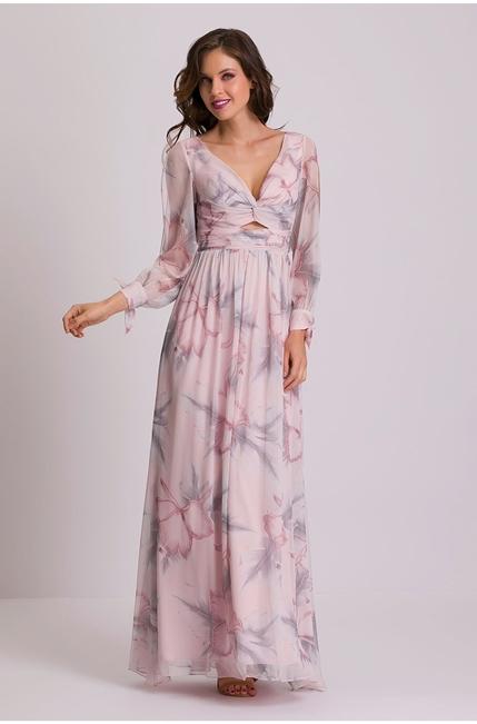 vestido longo rosa claro estampa floral