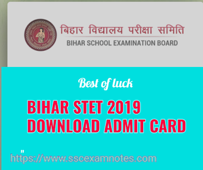Bihar stet 2019 download admit card
