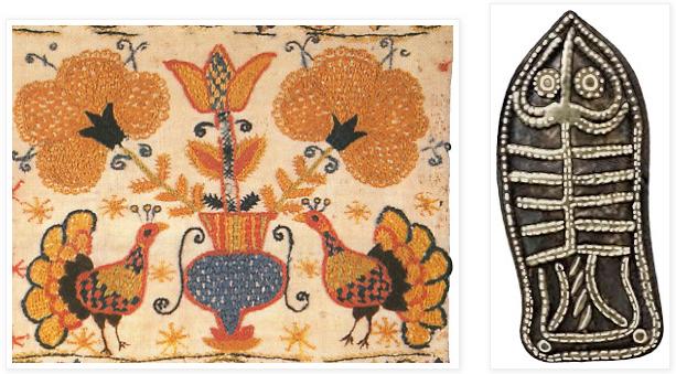732d8bd117 Edényből (olasz korsóból) kinövő tulipánszerű virág egy magyar népi  hímzésen (balra) és egy hun eredetű frank turulról (jobbra)