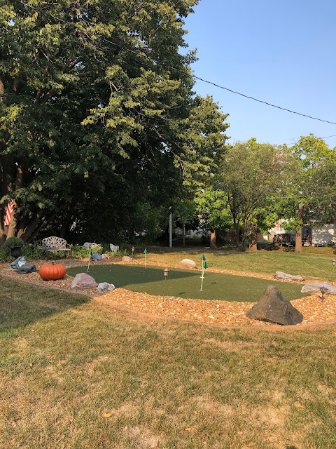 Putting green fun at Guardian Angel Bed and Breakfast in Janesville, Wisconsin