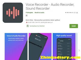 Aplikasi rekam suara Android voice recorder