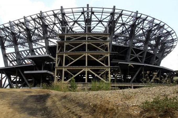 Estructura en contruccion del estadio de beisbol mas grande de Venezuela y Suramerica