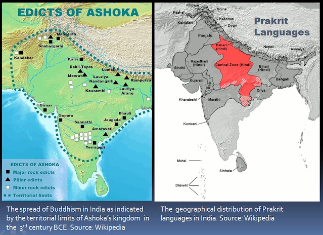 The geographical limits of Buddhism in India during the reign of Emperor Ashoka in the 3rd century BCE strongly correlates to the geographical distribution of Prakrit languages in India