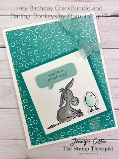 Stampin' Up!'s Hey Chick Bundle, Darling Donkey Sale-A-Bration stamp set, Oh So Ombre Sale-A-Bration designer series paper.  I demonstrated the card on the video (link on blog).  Get the Sale-A-Bration items by Feb 28, 2021!!  #StampinUp #StampTherapist #SaleABration #DarlingDonkeys #OhSoOmbre