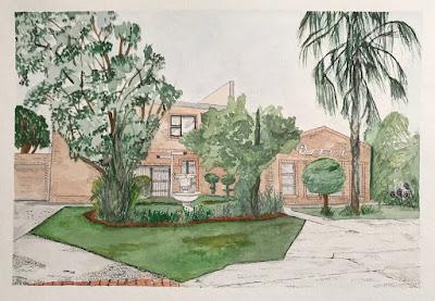 Watercolour and ink painting of iSERT house, artist Linzé Brandon, signed LdV-V