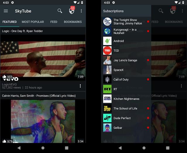 تنزيل تطبيق SkyTube للحصول على مميزات اليوتيوب المدفوعة مجانا