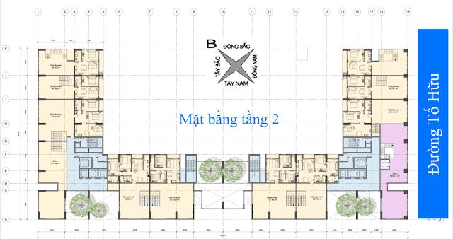 Mặt bằng điển hình tầng 2 chung cư Anland Nam Cường