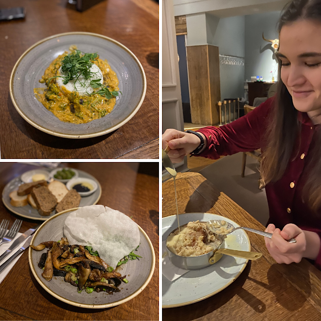 The top photo is coconut curry, the bottom left is oyster mushrooms the main is myself in a red shirt pouring a custard over apple crumble