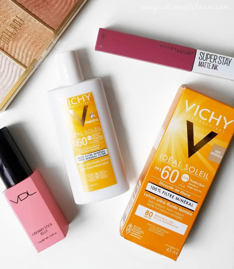 bblogger, bbloggers, bbloggerca, canadian beauty bloggers, beauty blog, topbox circle, vichy, ideal soleil, ultra-fluid, mineral, tinted sunscreen, lotion, spf 60, water resistant, sweatproof, fair skin, dry skin, sensitive skin, swatch, universal tint,  tinted sunscreen, review