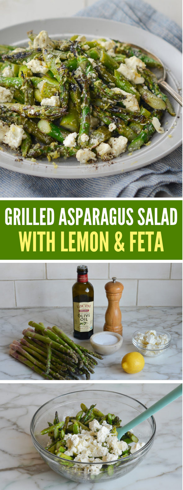 Grilled Asparagus Salad with Lemon & Feta #vegetarian #glutenfree #salad #veggies #vegetables
