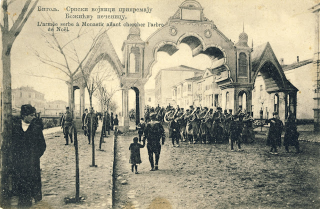 Serbian military orchestra passes under the Triumphal Arch during the Christmas holidays in 1913. The Triumphal Arch was built in 1911 (during Turkish rule) on the occasion for the visit of Sultan Mehmed Reshad V of Bitola