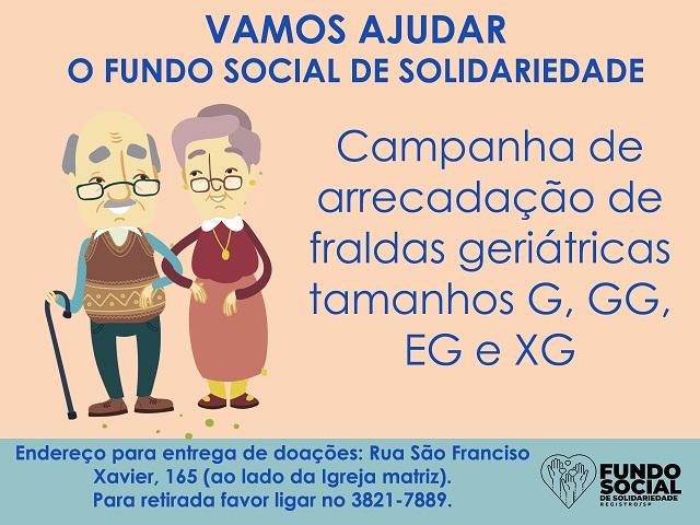 Fundo Social de Solidariedade de Registro-SP promove arrecadação de fraldas geriátricas