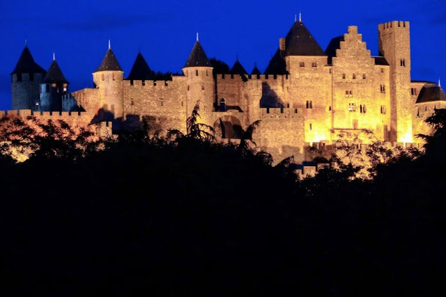 La Cite in Carcassonne after dark