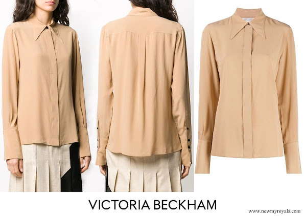 Meghan Markle wore Victoria Beckham pointed collar silk shirt