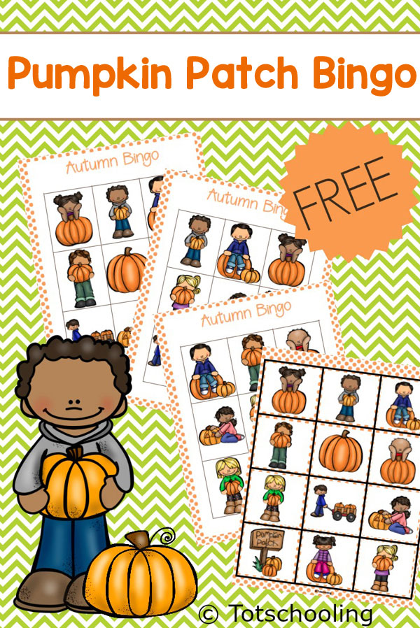 FREE printable Pumpkin themed BINGO game for toddlers and preschoolers. Great visual discrimination game for the Fall or for a pumpkin unit.