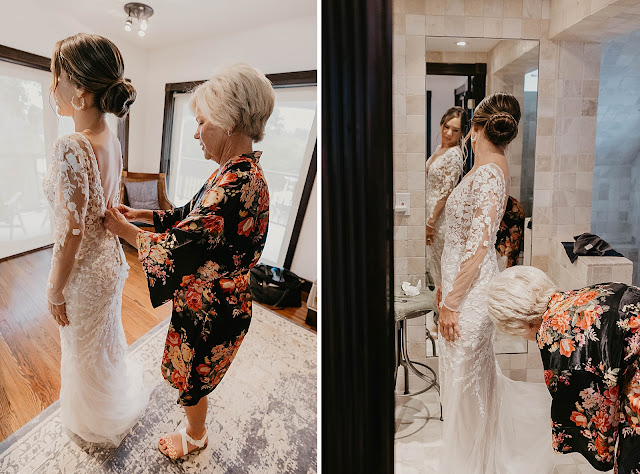 Mother helping Bride buttoning dress The Manor on St Lucie Crescent Wedding captured by Stuart Wedding Photographer Heather Houghton Photography