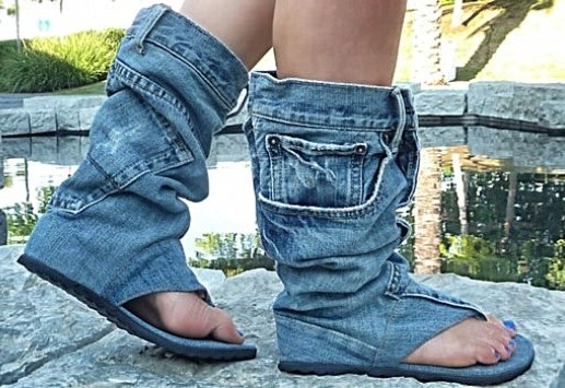 How to Recycle: Cool Recycled Denim Sandal Boots