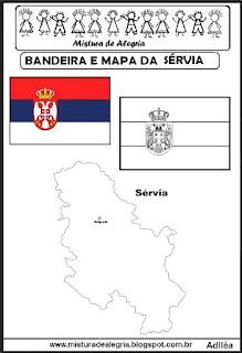 Bandeira e mapa da Sérvia