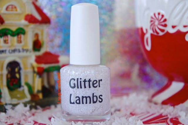 Christmas custom handmade indie nail lacquer. White glitter topper nail polish for the holiday season for your nails.