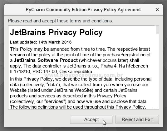 Você deve aceitar os Termos de Uso e Política de Privacidade da JetBrains para usar o PyCharm